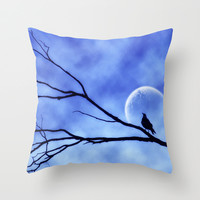 Blue Moon Bird v2 Throw Pillow by Webgrrl