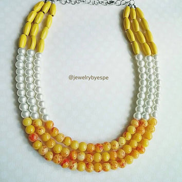 Statement Bridal Yellow Pearls Necklace Ivory Pearl Necklace Yellow Necklace Bridemaids Necklaces Multistrand Necklace
