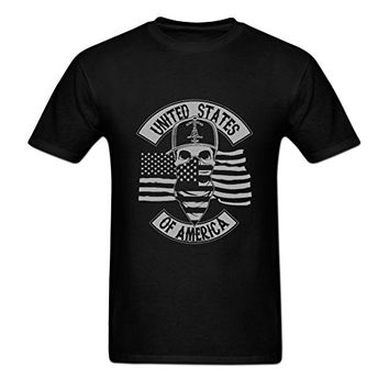 New 2017 Don't Tread On Me Army Skull Crewneck T-shirt