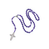 Catholic Rosary, Amethyst rosary, Silver plated Cross and God mother, Silk cord Rosary, in Handmade