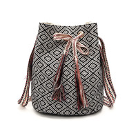 Ethnic Plaid Drawstring Tassel Black Bucket Shoulder Bag