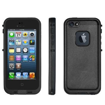 Ari NEW Life Waterproof Shock/Dirt/Snow Proof Durable Case Cover for iPhone 5 5s Generation with Headphone Adapter, Cloth (Black)