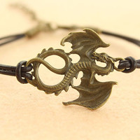 lord of ring inspiration--evil dragon bracelet,antique bronze charm bracelet,brown leather bracelet,MORE COLORS