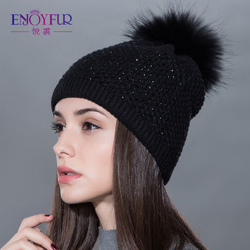 Women fur hat for winter knitted wool beanies cap fluffy fur pom pom hats brand new fashion casual caps good quality