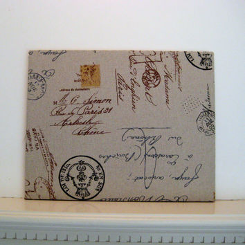 French Bulletin Board, Paris script office memo board, words and symbols using high grade upholstery fabric