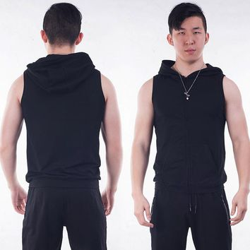 Running Vests Jogging Summer Compression Sport Vest For Men Hight Elastic Leisure Running Tank Top With Hat Outdoor Sports Sleeveless T-Shirts KO_11_1