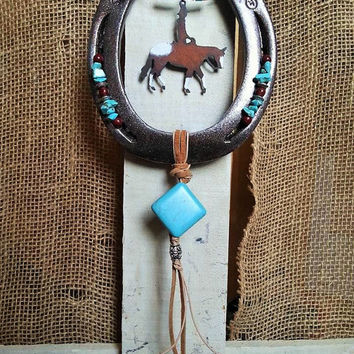 Horse Lover Gift, Horseshoe Art, Decorated Horseshoe, Horse Gifts, Cowgirl Horse, Appaloosa Horse, Equestrian Gifts, Rustic Metal