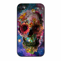 Floral Sugar Skull On Galaxy iPhone 4 Case