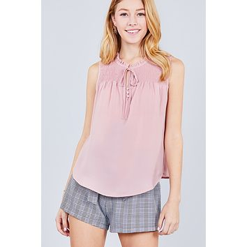 Ladies Ruffle Neck W/self Tie Smocked Yoke Detail Front Button Woven Top ()