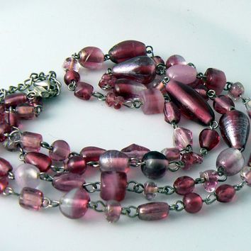 Vintage 2 Strand Purple Givre Murano Glass Necklace