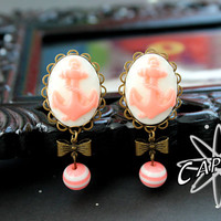"Anchor  cameo gauges plugs 18mm 11/16"" pink white nautical pirate"
