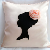 Elegant Cameo Light Peach And Black Pillow Cover. Lady With Rosette Headpiece. Girls Room. Bridal Gift