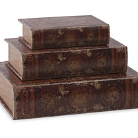 World Map Book Boxes - Set of 3