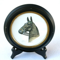 Horse Lithograph Vintage Small Round Black and Gold Frame by C. Fred Sitzler