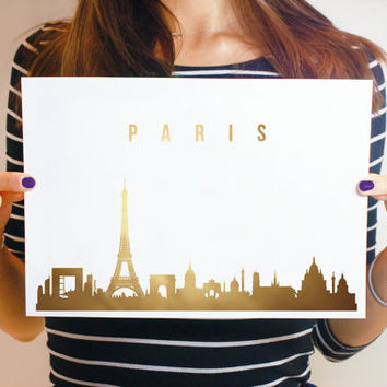 Paris Skyline, Real Gold Foil, Paris Gold Foil, Gold Print, Illustration Art Print, Wall Decor, Wall Art, Office Decor, Paris France Art.