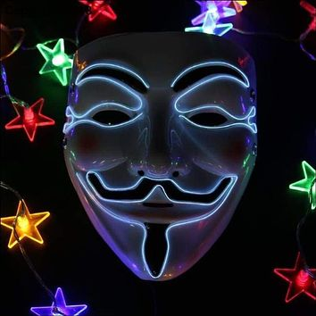 Halloween Mask EL Wire Funny Masks The Purge Election Year Great Festival Cosplay Costume Supplies Party Masks Glow In Dark Heartwrenthe Official Universal Defenders Mask Macchar Cosplay Catalogue