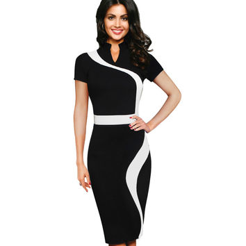 Summer Women Short Sleeve Casual Office Business Pencil Bodycon Stretchy Tunic Patchwork Colorblock Contrast Dresses B320