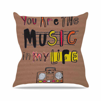 "MaJoBV ""Music In My Life"" Brown Quote Outdoor Throw Pillow"