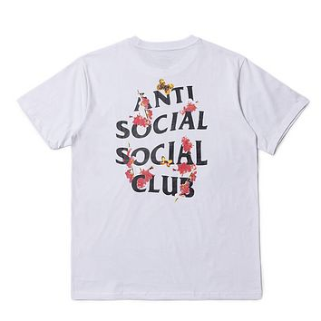 Antl Social Social Club Summer Fashion New Bust Letter Print And Back Letter Floral Top T-Shirt White