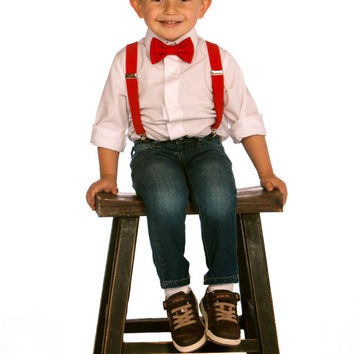 Boys Valentines Outfit -- Toddler Valentines Outfit -- Red Suspenders & Red Bow Tie -- Suspenders Bow Tie -- Ring Bearer Outfit