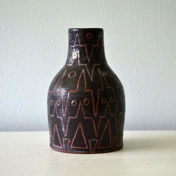 Vintage Abstract Vase, Geometric Pattern, Brown Glaze, Terra Cotta, Signed Reindle Nelson, Pencil Holder, Bud Vase, Art Pottery