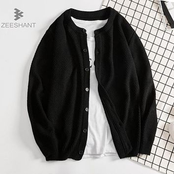 ZEESHANT New Autumn Winter Cardigan Men Fashion Sweater Casual Buttons Up Slim Fit Unisex Knitted Wear Brand Clothing XXXL