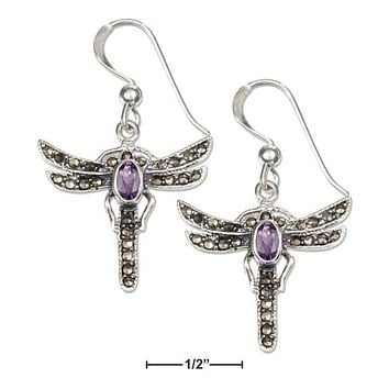 STERLING SILVER MARCASITE AND AMETHYST DRAGONFLY FRENCH WIRE EARRINGS