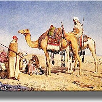 People and Camels Picture on Stretched Canvas, Wall Art Decor, Ready to Hang!