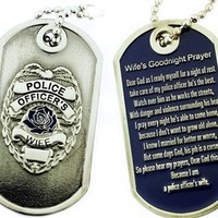 Police Officer's Wife Prayer Brushed Steel Dog Tag