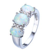 New Sale Unique Round Fire Opal Ring White Gold Filled Crystal Jewelry Vintage Wedding Party Rings For Men And Women RP0048