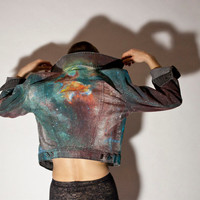 Made to Order. Unisex  Hand Painted Painted Space/ Galaxy/ Nebula Jacket