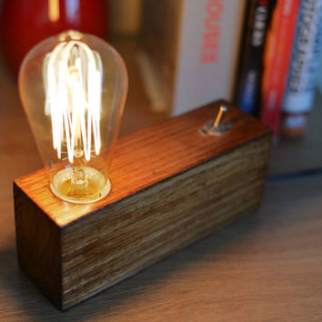 Handmade Edison Wood Lamp,Table lamp, Desk lamp, Wooden Lamp,retro lamp,Steampunk lamp,gift