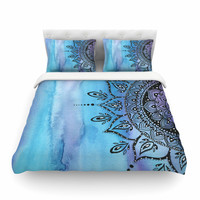 "Li Zamperini ""Blue Mandala"" Aqua Black Featherweight Duvet Cover"