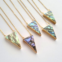 Abalone Shell Necklace Triangle Necklace Abalone Necklace Geometric Necklace Abalone Pendant Abalone Shell Jewelry Boho Geometric Jewelry