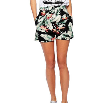 High Waist Leaf Print Shorts