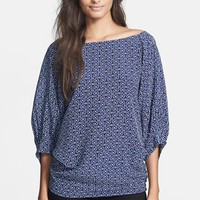 Women's Trina Turk 'Garland' Print Dolman Sleeve Two-Way Silk Top,