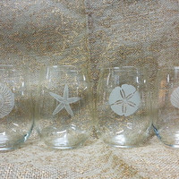 Beach Themed Stemless Wine Glass Set