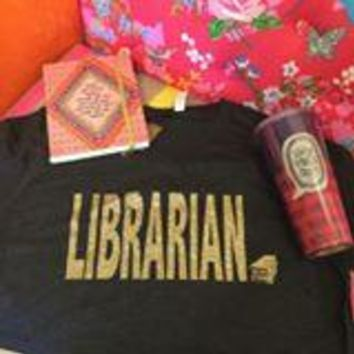 Librarian with books on charcoal v neck with gold glitter t-shirt