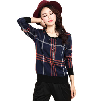 Spring Autumn Winter Slim Basic Plaid Sweaters Women Plus Size O-neck Thick Pullover Knitted Sweater Pull Femme Shirts Tops 2016