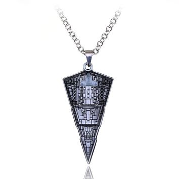 Star Wars Destroyer Ship Model Metal Necklace Spacecraft Warship Triangle Pendant Alloy Accessories Movie Fans Jewelry Men Gift