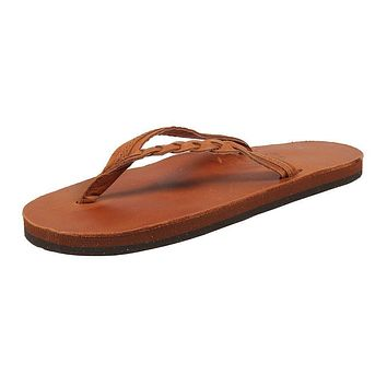 Women's Flirty Braidy Leather Sandal in Tan by Rainbow Sandals