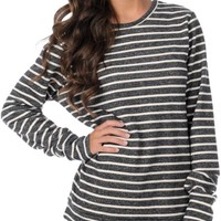 Obey Anchor Heart Girls Black Striped Crew Neck Fleece at Zumiez : PDP