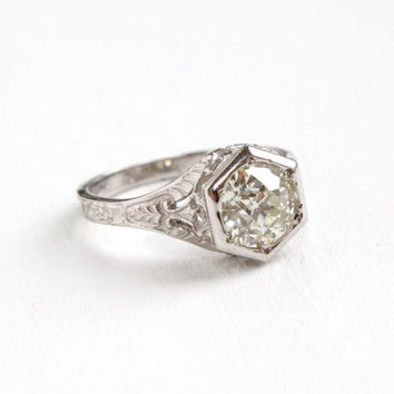 Antique 14k White Gold 1.5 Carat Diamond Filigree Engagement Ring 1920s Art Deco Open Metal Floral Etched Wedding Fine Jewelry EGL Certified