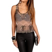 Pre-Order: Tan Beaded Embellished Top