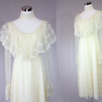 Vintage 30s sheer lace wedding dress / bohemian dress / wedding dress / lace dress / boho dress / party dress