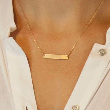 Customized Hammered Name Bar Necklace / Personalized Bar Necklace in Silver, Gold, Rose Gold Textured Bar Necklace LN101h.hm