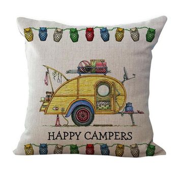 "Fun ""Happy Camper"" Yellow Camper Pillow Case Cover PILLOW NOT INCLUDED"
