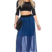 Royal Blue Chiffon Flowy Maxi Skirt