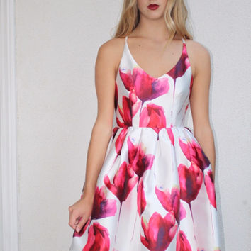 Red and White Floral Party Dress