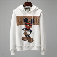 GUCCI x Mickey Mouse co-branded autumn and winter men's simple printed sleeve long-sleeved hooded sweater White